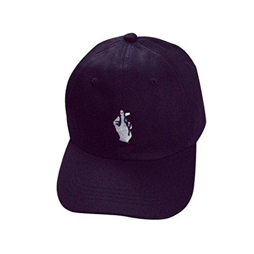 Gloryhonor Unisex Fashion Baseball Cap Adjustable Hip Hop Finger Hat - Black