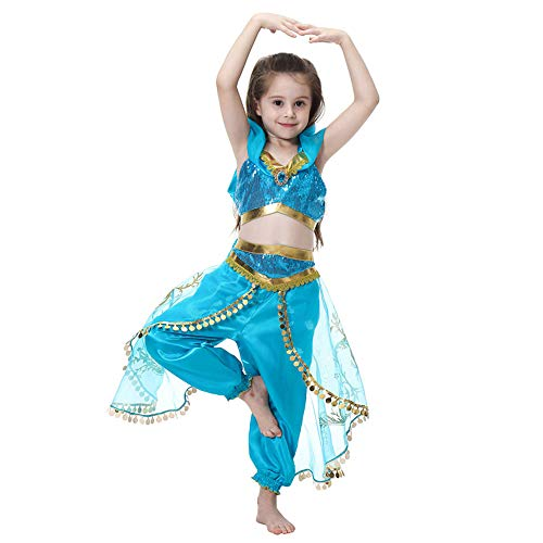 AJJDL Mädchen Fasching Kostüm Tüll Kleid Bauchtänzerin Pailletten Karneval Tanz Kostüm,Blue,140cm -