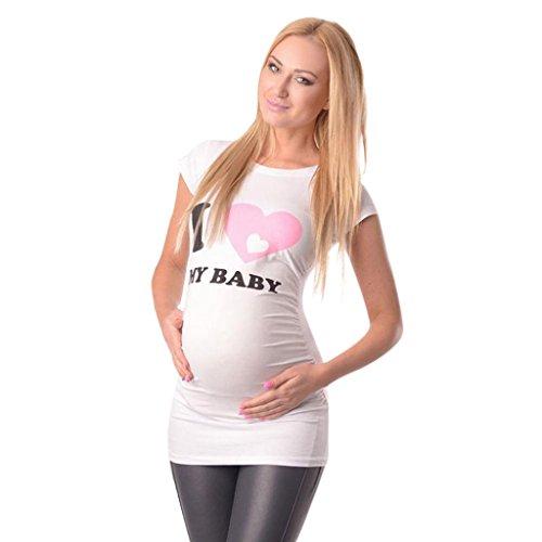 b8602f7ff K-youth Ropa Premama Verano Ropa Embarazada Mujer Camiseta Premamá T-Shirt  Blusa Embarazada