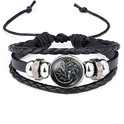 Styliee Armband Armreif, Schmuck Geschenk, New Ethnic Brown Retro Leather Bracelets for Men Women Game of Thrones Multiple Layers Badge Charms Men Bangles Fashion 12012608 Adjustable - Frauen Xoxo Watchs