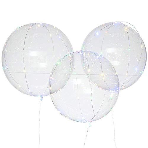 Dicomi 3er LED Licht Wiederverwendbare Leuchtende Ballon-transparente Runde Luftblasen Dekorations Partei Mehrfarbig