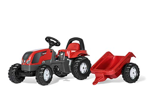 Rolly Toys- Trattore a Pedali Kid Valtra con Roll Bar e Rimorchio, 012527