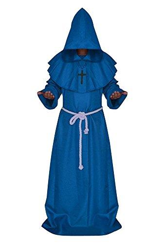 Mönch Kostüm Kutte Bruder Tack Karneval Blau XL
