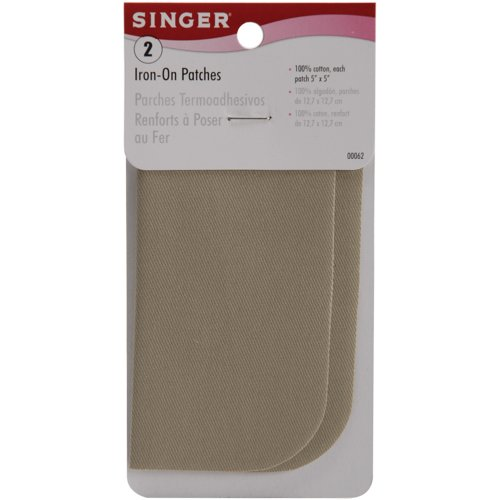 Preisvergleich Produktbild Singer 5-inch-by-5-inch Flicken zum Aufbügeln,  Khaki,  2 pro Paket