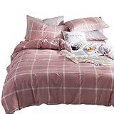 Luofanfei Bettwäsche King Size Baumwolle 220 x 240 cm Kariert 3 Teilig Rosa Bettbezug Karo Weiß Einfarbig Grau mit Reißverschluss