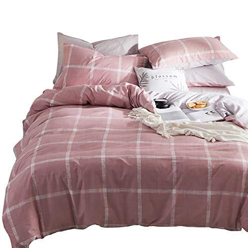 Landhaus-stil Bettwäsche (Luofanfei Rosa Bettwäsche 155x 200 Kariert Baumwolle 2 Teilig Bettbezug Einfarbig Hellgrau Geometrisch Landhaus Stil Top Qualität)