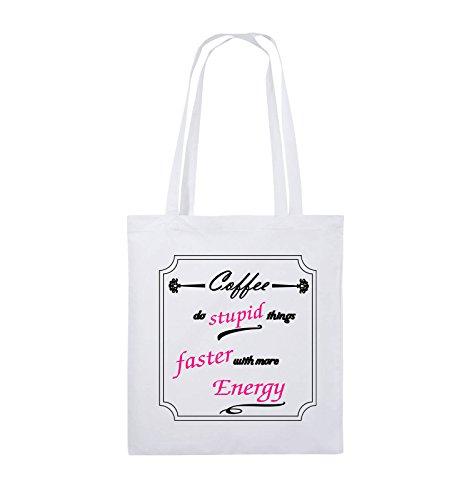 Buste Comiche - Il Caffè Fa Cose Stupide Più Velocemente Con Più Energia - Jutebeutel - Lange Henkel - 38x42cm - Farbe: Schwarz / Weiss-neongrün Weiss / Schwarz-pink