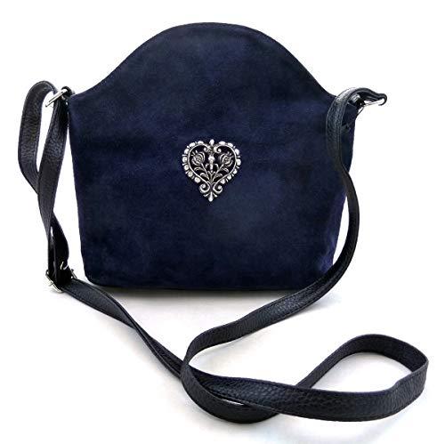 Dunkelblaue Trachtentasche Dirndltasche Umhängetasche Wildleder mit Trachten-Herz