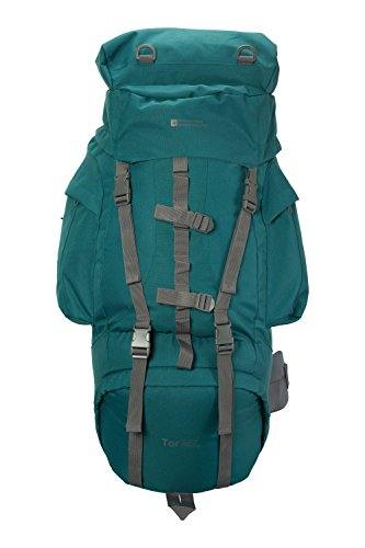 Mountain Warehouse Tor Rucksack - 85 Liter - Tagesrucksack mit Airmesh-Rücken, teilbares Fach, Brustgurt, Hüftgurt - Für ganzjähriges Reisen, Camping, Bergwandern Dunkelgrün