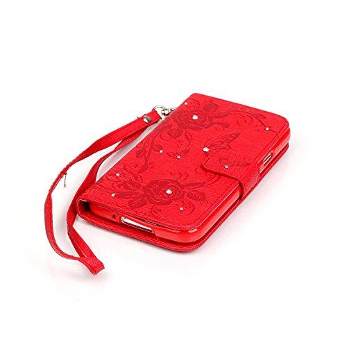 Etsue Samsung Galaxy S5 Coque,Flip PU Cuir Etui Avec Magnétique Bouton pour Samsung Galaxy S5,Papillon Motif Cover Folio Portefeuille Coque Housse Avec Cordon de Transport Étui pour Samsung Galaxy S5, Papillon Rouge