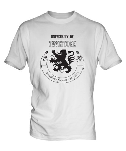 University Of Tavistock Spoof Mens White T-Shirt Top