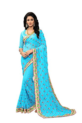 Online Fayda Women's Georgette Saree With Blouse Piece (Of291 ,Blue Free Size)