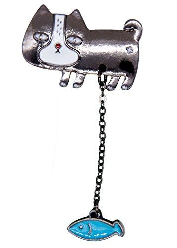 knoop Pin Anstecker Button Accessoires Katze mit Fisch ca.6cm groß
