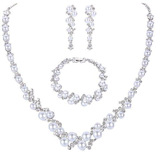 EVER FAITH® österreichischen Kristall Künstliche Perlen Lieb Hochzeit Schmuck-Set Silber-Ton