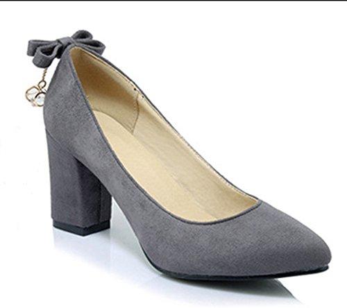 Aisun Damen Elegant Schleife Metall Pointed Toe Pumps Grau