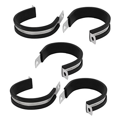 DealMux 48 mm Dia caoutchouc EPDM doublé P ferme câbles Tube colliers Holder 5pcs