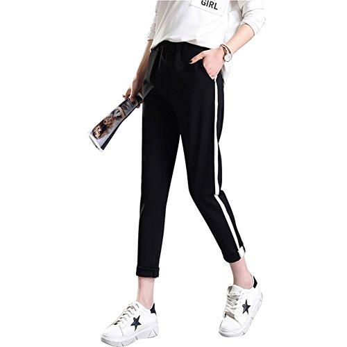 Juleya Mode Frauen Schwarze Hosen Frauen-beiläufige hohe Taillen-Hosen Drawstring lose Hose Sweatpants