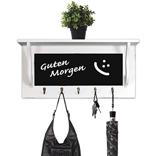Multistore 2002 Schicke Wandgarderobe Garderobenpaneel Flurgarderobe aus Holz mit Tafel, 54x13x26cm, für Hausflur, Diele, Küche, weiß/matt, 5 Haken