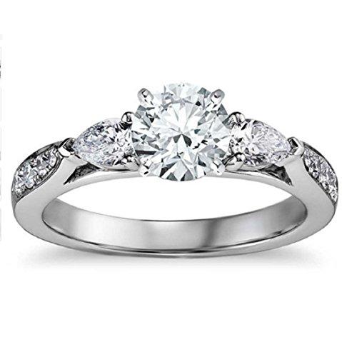 Gowe Europäische Retro moissanites Diamant Hochzeit Ring für Frauen 1CT Rundschliff Lab gewachsen Diamant (Diamant-moissanite Ring)