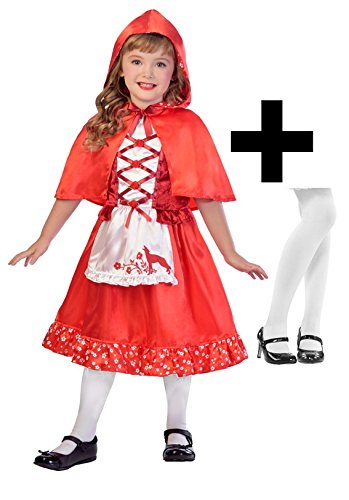 Red Riding Hood + Tights Girls Fancy Dress Fairy Tale World Book Day Kid Costume