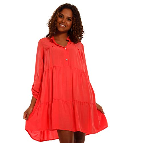 YC Fashion & Style Damen Tunika Kleid Sommerkleid Strandkleid Party-Kleid oder Freizeit-Minikleid H255 Made in Italy (One Size, Lachs)