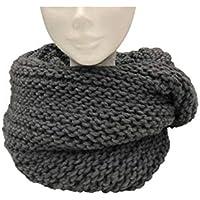 Scaldacollo in maglia, sciarpa ad anello intrecciato col. Grigio fatto in Italia Made in Italy