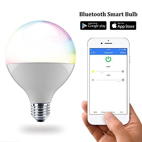 2 Ans de Garantie G95 Ampoule Intelligente E27 13W Ampoule de couleur LED RVB Avec 16 Millions de Couleur 2700K Synchronisation Rythme Musique et Lampe de Réveil Timing Fonction pour le Réveil ou la Rentrée App Contrôlée et Compatible avec IOS/Android Système Ampoule led 90*135mm [Classe énergétique A+]