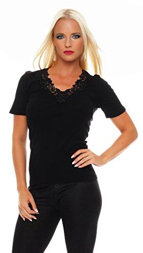 Damen-Hemd mit Spitze und V-Ausschnitt (Shirt, Top, Damenhemd) Nr. 404 ( Schwarz / 52/54 - (XX-Large) ) - 2