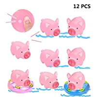 Poluka 10 Rubber Pig Bath Toy with 2 Pieces Mini Swimming Ring Pig Squeak Toy for Kids Baby Children Kids Goodie Bag Filler Educational Toys Novelty Toy School Prize Gifts