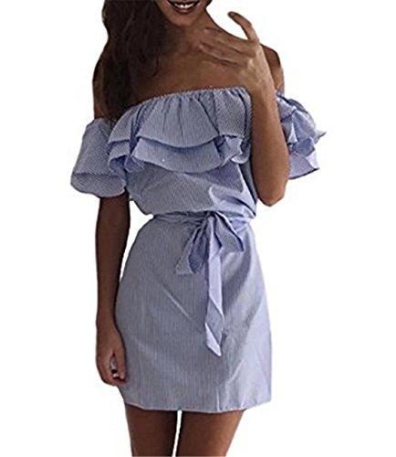 EMIN Damen Schulterfrei Minikleider Damen off-shoulder Strandkleider Ohne  Träger Kleid Ärmellos Streifen Sommerkleid Blau