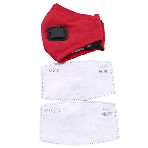 HengXing Anti Verschmutzungsmaske Military Grade N99 Maske waschbare Baumwoll-Mundmasken mit auswechselbarem Ventil, rote Frauen, Size1