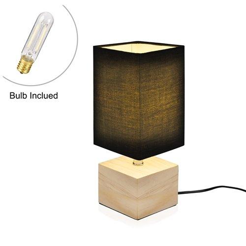 Viugreum Nachttischlampe Schreibtischlampe Atmosphärelapen aus Massivholz gemachtem Lampenfuß und Stofflampenschirm, ideale Beleuchtung für Schlafzimmer, Wohnzimmer, Bettschrank,Kaffeetisch (Schwarz 2)