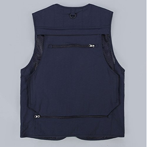 Zhhlaixing Bon tissu Mens Outdoor Multipocket Fishing Working Vest Mesh Waistcoat Gift for Father's Day Dark Blue