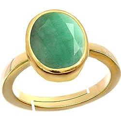 Gemorio Emerald Panna 4.8cts or 5.25ratti stone Panchdhatu Adjustable Ring For Women