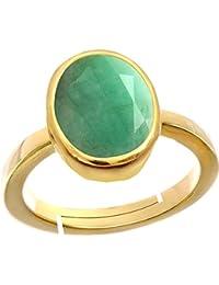 Gemorio Emerald Panna 6.5cts or 7.25ratti stone Panchdhatu Adjustable Ring For Men