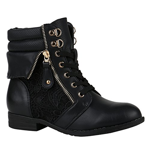 Damen Stiefeletten Worker Boots Leder-Optik Knöchelhohe Stiefel Camouflage Bockabsatz Gr. 36 - 42 Schuhe 144309 Schwarz Zipper 39 | (Schuhe Große Frauen)