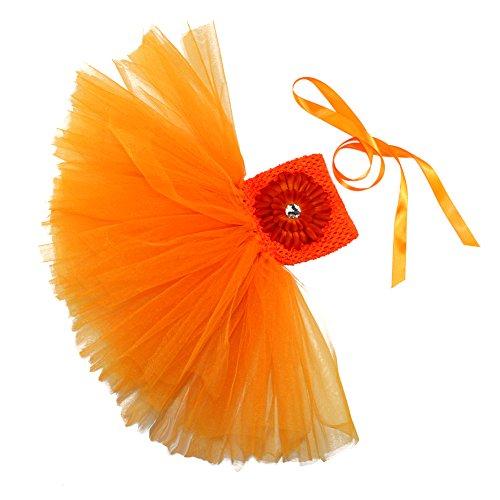 Honeystore Mädchen Spitze Prinzessin Rock Sommer Blumen Kleider für Baby Kleinkinder Kinder 0-2 Jahre alt Small Orange mit Chrysantheme (Kleinkind Rocker Kostüme)