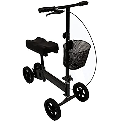 Outdoor Knee Walker Folding Rollator Adjustable Scooter All Terrain Knee with Brakes