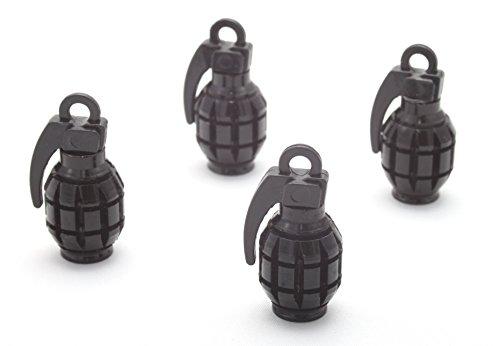 Preisvergleich Produktbild 4x Ventilkappen Handgranate Granate Farbe: Schwarz Black Ventilkappe Vhsch