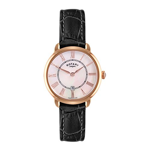 Rotary Women's Quartz Watch with White Dial Analogue Display and Black Leather Strap LS02919/41
