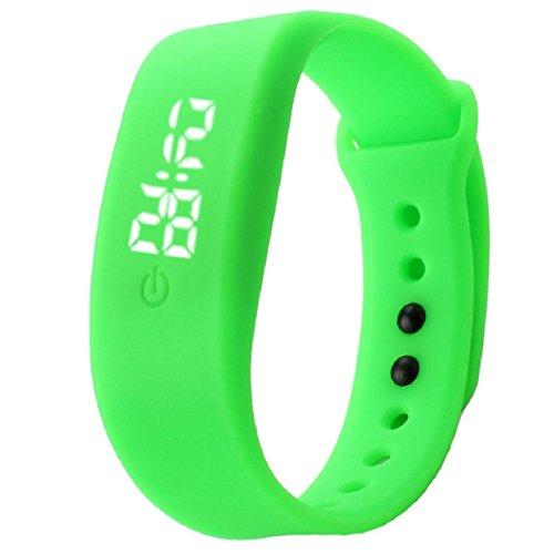 OverDose Damen Herren Gummi LED Uhr Datum Sports Armband Digital Armbanduhr (Grün)