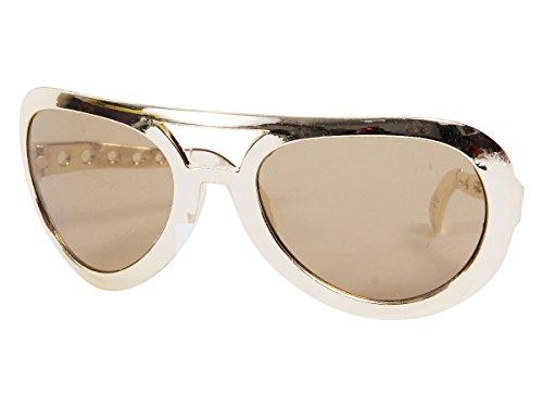 Alsino Partybrille Jumbo XXL Brille Karneval Hippiebrille Rund Fasching Riesenbrille, wählen:Jumbo Brille gold (Flip Ihre Perücke)
