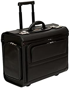 "Wheeled Pilot Case Rolling 17.3"" Laptop Roller Bag Briefcase Hand Luggage Flight Cabin"