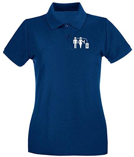 Cotton Island - Polo pour femme T0980 bla bla bla fun cool geek Bleu Navy