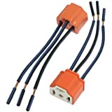 Enchufe - SODIAL(R) 2 x H4 Enchufe del arnes de faro alambrado de alambre de ceramica para faros de coches