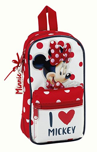 Minnie Mouse Estuches, 23 cm, Rojo y Blanco