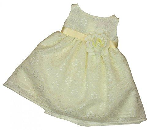 BIMARO Baby Mädchen Taufkleid Nelly creme beige Babykleid Kleid Spitzenkleid Blumen Taufe Hochzeit festlich Festkleid Spitze, Größe:62/68 (Kleid Blume Creme)