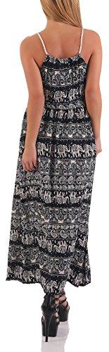 malito Maxi-Kleid im Orient-Design Strandkleid B1633 Damen One Size Dunkelblau