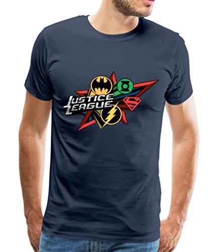 Spreadshirt DC Comics Justice League Logos Superhelden Männer Premium T-Shirt, 3XL, Navy