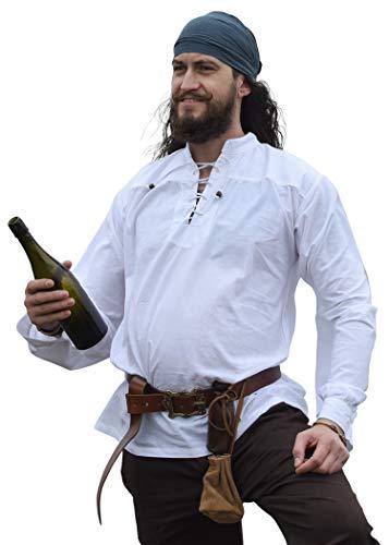 Battle-Merchant Mittelalter-Hemd Ludwig LARP Wikinger Kleidung Herren Weiß, S